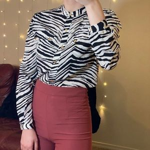 Juicy Couture zebra printed button down blouse
